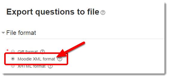 Select 'Moodle XML format'.