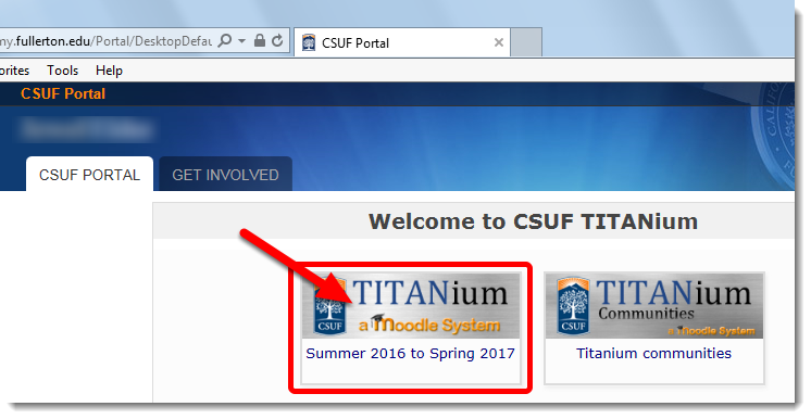 Click on the TITANium button for the appropriate academic year.