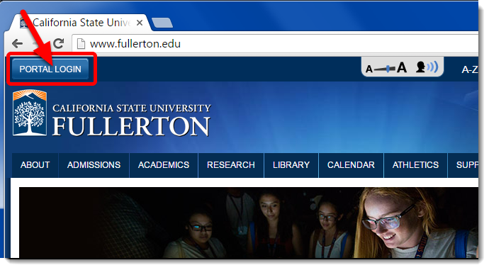 Navigate to the CSUF homepage and click on the Portal Login button.