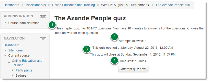 Read the instructions and requirements for the quiz.