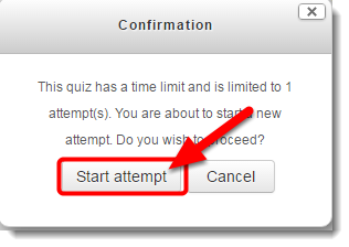 Click on Start attempt in the Confirmation window.