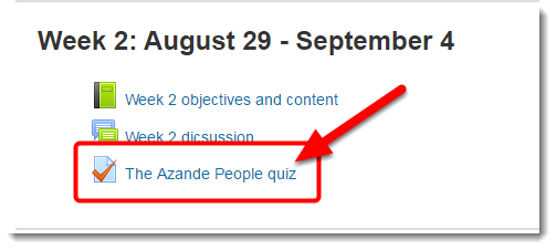 Scroll down the course main page to the link for the quiz and click on it.