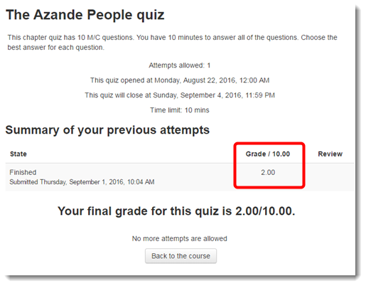Looking at your Quiz activity score, you see 2 out of 10.