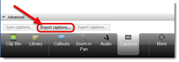 Click on Import captions.