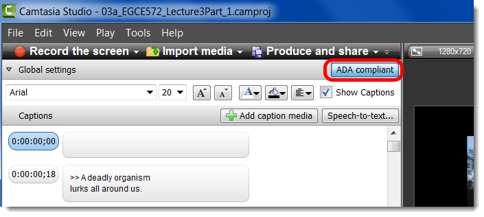 Make sure that 'ADA compliant' is highlighted to ensure that the captions are the proper size.