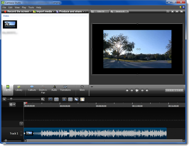 Open your Camtasia project.