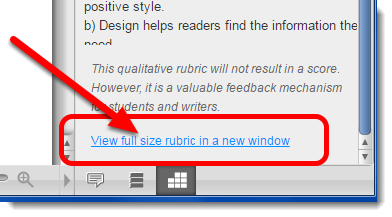 To view the entire rubric, click on 'View full size rubric in a new window'.
