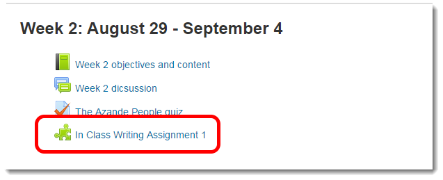 Scroll down the page to the Turnitin assignment link.