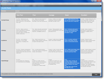 The complete rubric will display in a new window.