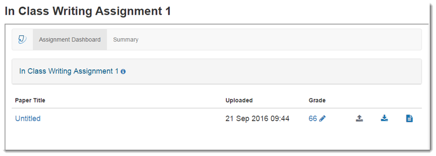 The Turnitin Assignment Dashboard page will display.