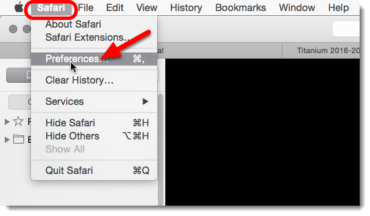 If the web page does not display the 'Click to use Flash' button, then click on Safari then on Preferences.