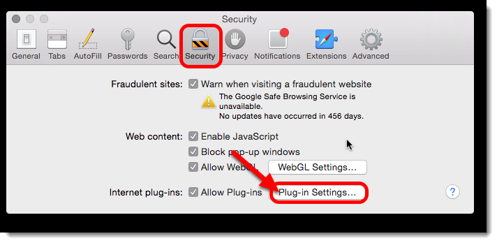On the Security tab, click on Plug-in settings.