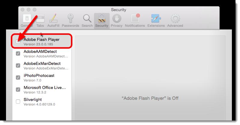 Check the Adobe Flash Player box.