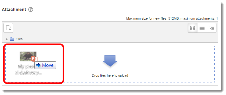Drag and drop a file to the Attachment area.