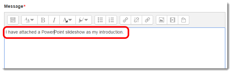 Add text and other content to the Message textbox as desired.