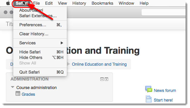 Click on Safari in the toolbar menu.