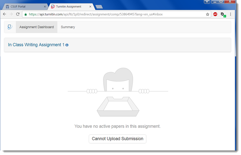 The Turnitin page should now display.