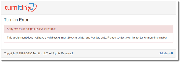 screenshot of the error page within turnitin
