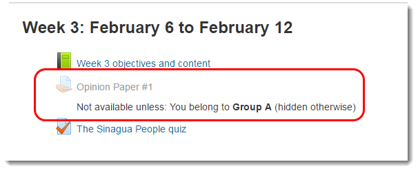 The link to the Assignment is now only available to members of Group A.