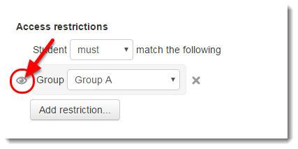 Click on the Eye icon if you do not want non-group members to see this activity link.