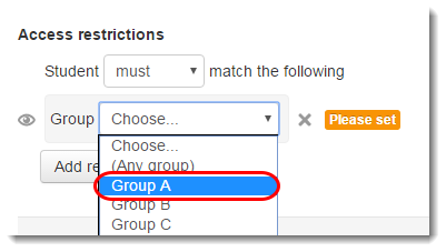 Choose the name of the group in the dropdown menu.