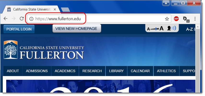 Go to fullerton.edu.