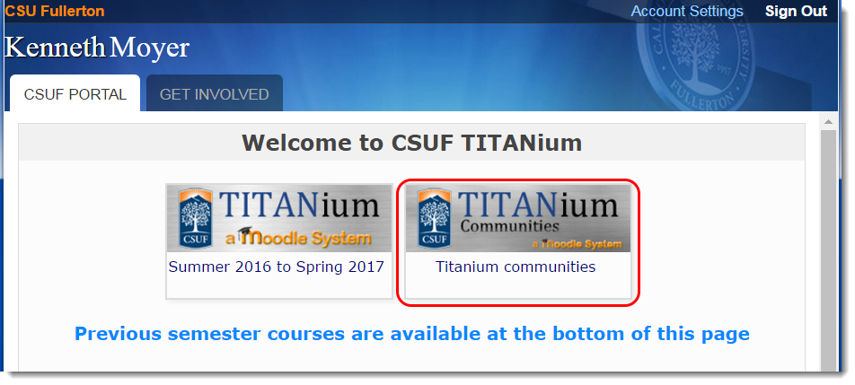 Click on the TITANium Communities button.