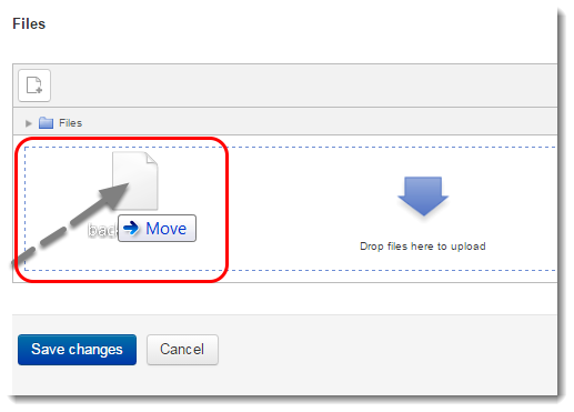 Drag the backup file to the file upload area.