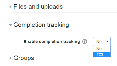 """Scroll down the list to Completion tracking and change """"Enable completion tracking"""" to Yes."""