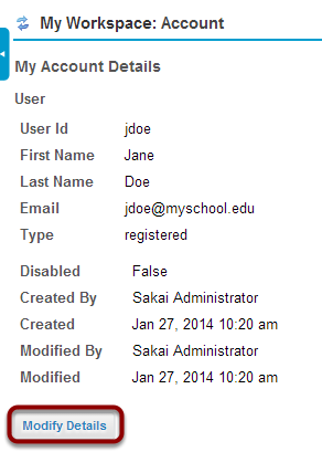Guest login: modifying account details.