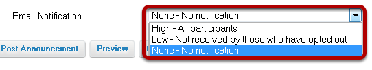 Notify participants of announcement by email. (Optional)