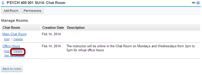 Click the Delete link for the room you want to remove.