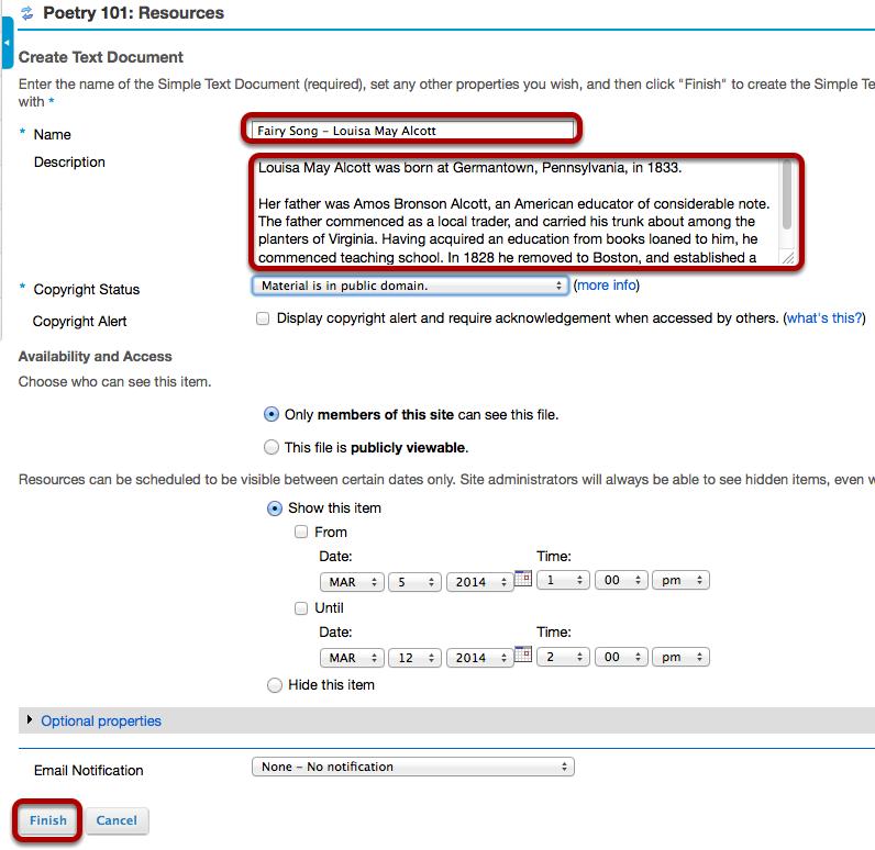 Enter document information.