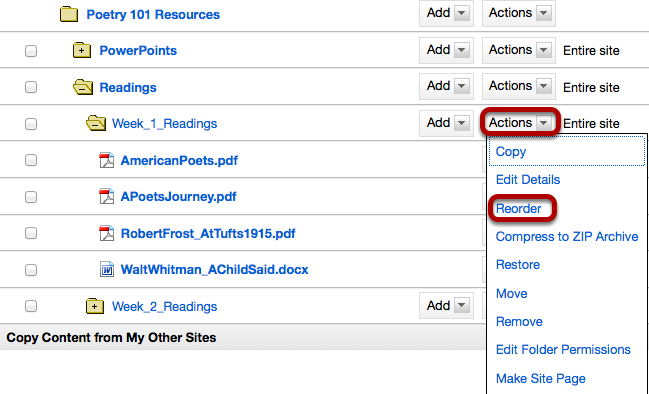 Files: Click Actions, then Reorder.