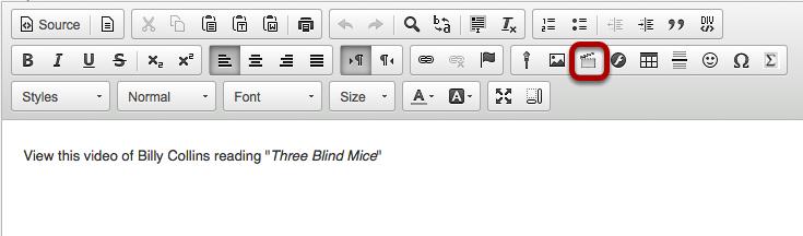 Click the Insert/Edit Movie icon.