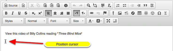 In the text box, position your cursor where you want to embed the mp4 video.