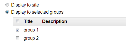 Display to selected groups.