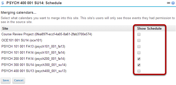 Select calendars to be merged.