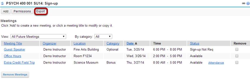 Export a set of meetings: