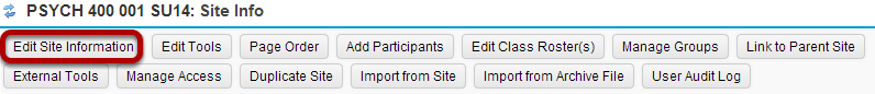 Click Edit Site Information.