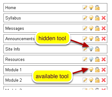 Hide Tools from students