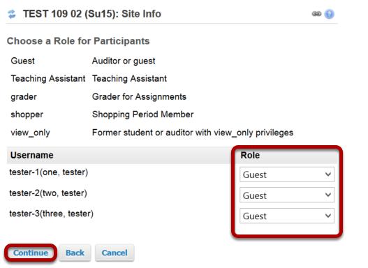 Select individual participant roles.