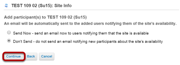 Choose to send or not send a notification email.