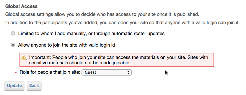 Making your site joinable