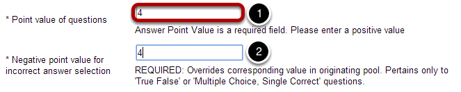 """If """"random draw from question pool"""" is selected, select a point value of questions."""