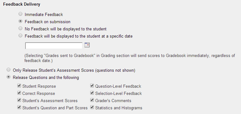 Grading and Feedback: Feedback delivery.