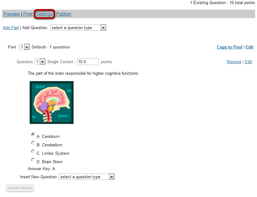 Alternately, you can access assessment settings from the edit assessment screen.