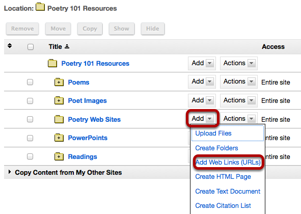 Click Add, then Add Web Links (URLs).