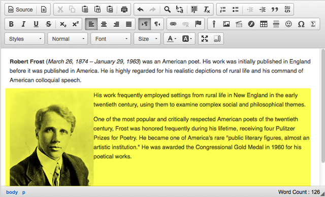 Example of additional text displayed next to a left-aligned image.