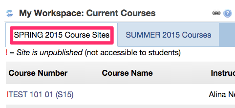 You can see which semester it is showing by looking at the tab selected.